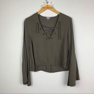 TOBI | Green Long Bell Sleeve Blouse Size M